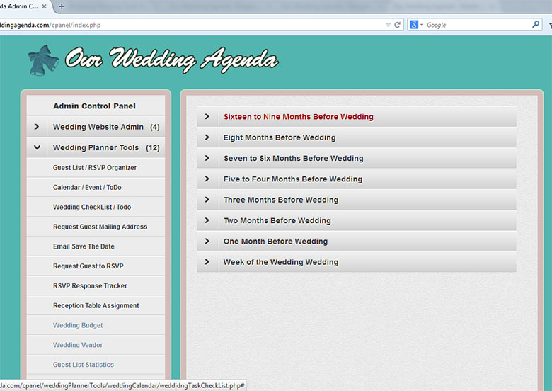 our wedding agenda weding check list to dos database